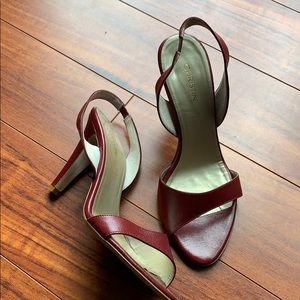 Shoes - Open toe red leather sling back heels